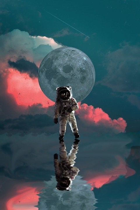 art print of a spaceman austronaut with backdrop of clouds and moon in red and blue